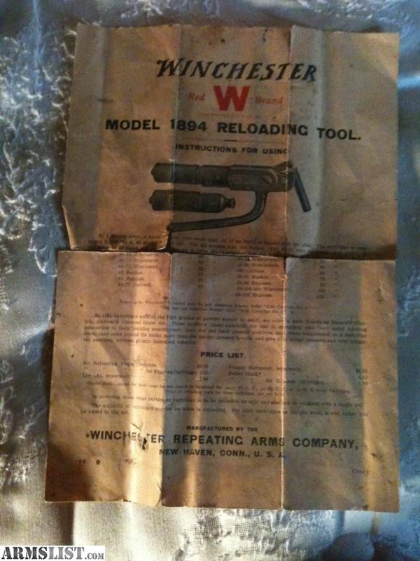 winchester 1894 reloading tool instructions